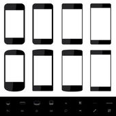 Smartphone shapes with blank screen. — Stock Vector