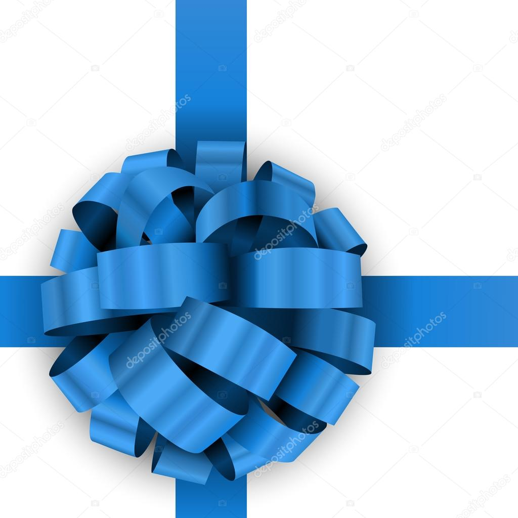 christmas present blue bow vector template stock vector christmas present blue bow vector template isolated on white background vector by tuulijumala