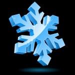 3D vector snowflake isolated on black background. — Stockvektor