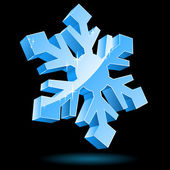 3D vector snowflake isolated on black background. — Stock Vector
