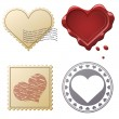 Valentine postage set with stamps and seals isolated on white ba — Cтоковый вектор