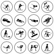 Black and white winter sports vector icons set. — Stock Vector