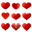 Red hearts shapes vector set isolated on white background. — Stock Vector