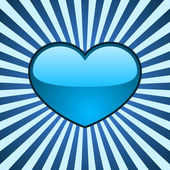 Vector background with glossy blue heart — Stock vektor