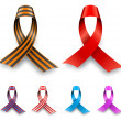 Color awareness ribbon set isolated on white background. — Stock Vector #45761243