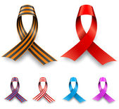 Color awareness ribbon set isolated on white background. — Stock Vector
