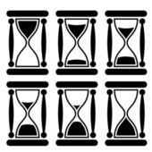 Zwart-wit sandglass pictogram ter illustratie van de tijd voorbij. — Stockvector