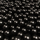 Black gossy balls 3D square background. — Stock Photo