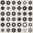 Black and white abstract flower bud shapes vector set. — 图库矢量图片