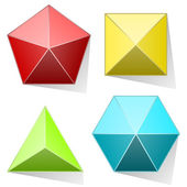 Color pyramid set isolated on white background. — Stock Vector