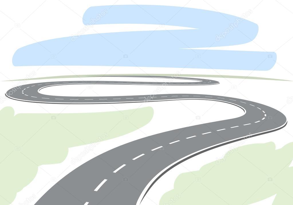 R sum de dessin de la route sinueuse menant lhorizon - Dessin de route ...