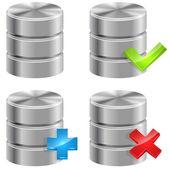 Metallic database icons isolated on white background. — Stock Vector