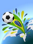巴西足球矢量背景与副本空间. — 图库矢量图片