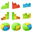 Color 3D graph icon vector set isolated on white background. — Stock Vector #50814835