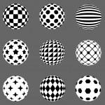 Black and white flat design patterned sphere vector design eleme — Stock Vector