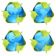 Recycling green arrows wrapping around world globe — Stock Vector #50815171