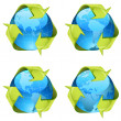 Recycling green arrows wrapping around world globe — Stock Vector