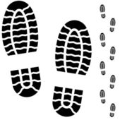 Black and white boot prints — Vector de stock