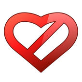 Abstract red heart shaped restriction sign — 图库矢量图片