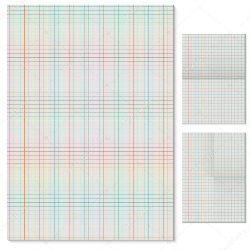 Blank lined page vector template with folded imitation variants – Blank Lined Page