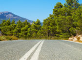 The asphallt road leading through the Rhodes island, Greece. — Stock Photo