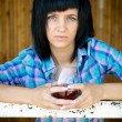 The young girl with a wine glass — Stock Photo #33170509