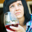 The young girl with a wine glass — Stock Photo