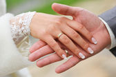 Couple hands wedding — Stock Photo