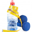 Two dumbells, water in bottle - Foto Stock