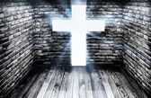 Pathway towards the cross in dark room — Stock Photo