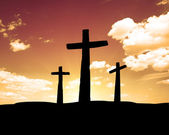 Three crosses on a hill — Stock Photo