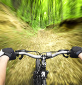 Mountain biking down hill descending fast — Stock Photo