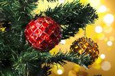 Closeup of Christmas-tree decorations — Stok fotoğraf