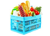 Products in shopping basket — Stock Photo