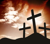 Silhouette of three Crosses — Stock Photo
