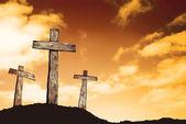 Crosses on hill — Stock Photo