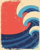 Sea waves poster.Grunge illustration of sea landscape. — Stock Vector