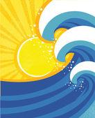 Sea waves poster. Vector illustration of sea landscape. — Stock Vector