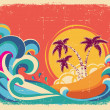 Vintage tropical card on old paper texture.Vector background — Stock Vector