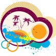 Vector tropical simbol.Abstract image with grunge elements - Vettoriali Stock