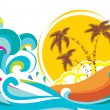 Vector tropical island with waves background — Stock Vector