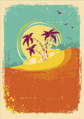 Vector tropical island on vintage old background with grunge — Stock Vector