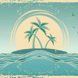Blue seascape horizon. Vector grunge image with tropical palms o — Stock Vector