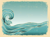 Grunge blue waves background.Painted image on old paper texture. — Stock Vector