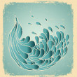 Royalty-Free Stock Vector Image: Grunge blue wave.Vector image on old paper texture.