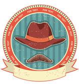 Retro man hatt och mustascher på gamla papper texture.vintage stil — Stockvektor