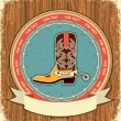 Royalty-Free Stock Vector Image: Cowboy shoe.Western label background on old wood texture