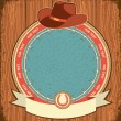 Royalty-Free Stock Vector Image: Western label background with cowboy hat on old wood texture
