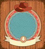Eski ahşap doku kovboy şapkası ile batı etiketi arka plan — Stok Vektör