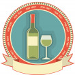 White wine bottle label.Vector symbol background - Stok Vektr
